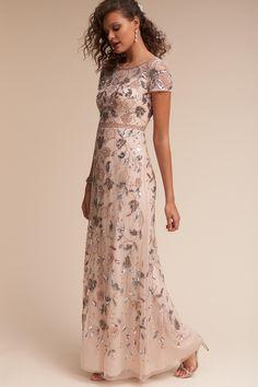 Beaded blush bridesmaid inspo by Adrianna Papell