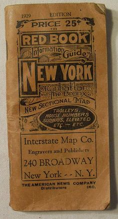 1929 NEW YORK RED BOOK GUIDE