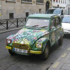 floral car | Floral Hand Painted Citroën Dyane Supermini Car -- Car Pictures