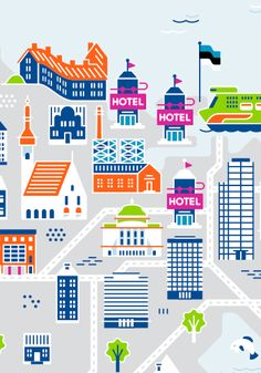 Campaign posters for Kärkimedia, one of the largest media companies in Finland. City Illustration, Pattern Illustration, College Brochure, University Guide, Northumbria University, Happy City, Campaign Posters, Berlin City, Penguin Books