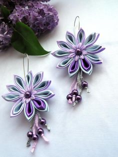 Ear-rings - made using Kanzashi pointed petal technique.