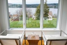 """Birch & Beauty: the Kennebecasis House - a """"Before & After"""" residential makeover. White Leather Chair, Leather Chairs, Mexico Vacation, Stool, Windows, Interiors, Interior Design, Studio, Modern"""