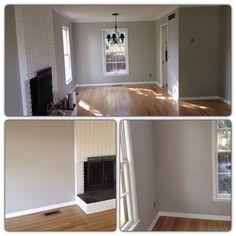 Light gray walls with light oak hardwood floors. Wall color: Valspar Notre Dame