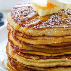 My Favourite Buttermilk Pancakes - Ein Fluffy Buttermilch Pancake Rezept My Favo. - My Favourite Buttermilk Pancakes – Ein Fluffy Buttermilch Pancake Rezept My Favourite Buttermilk - Pancake Healthy, Yummy Pancake Recipe, Yummy Food, Pancake Recipes, Pancake Breakfast, Breakfast Recipes, Dinner Recipes, Tapioca Crepes, Homemade Buttermilk Pancakes