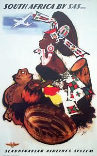 """PG238 Poster """"South Africa by SAS - Scandinavian Airlines System"""" by Otto Nielsen (1950)"""