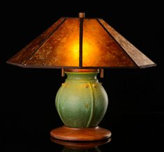 """Prairie Globe table lamp northern lights green glaze with amber mica shade 24"""" tall $575.00"""