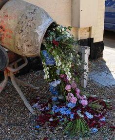Cement Mixer, floral art by Rebecca Law Jeff Leatham, Handmade Chandelier, Recycled Jars, Cement Mixers, Multimedia Arts, Dried Flowers, Garden Inspiration, Garden Art, Flower Arrangements