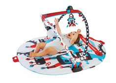 """The new """"Gymotion Robo Playland"""" by Yookidoo. Classic Black, White & red  and trendy Robotic design. With all the great features of the Gymotion side to side tracking system."""