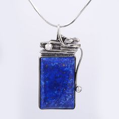 Lapis Pendant, Blue Pendant, Sterling Silver Pendant, Gemstone Pendant, Necklace, Natural Stone, Handmade, Modern, Abstract by YelenaUJG on Etsy