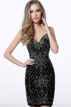 Jovani - 4391 Embellished V-Neck Fitted Cocktail Dress In Black Nude Cocktail Dresses, Sparkly Cocktail Dress, Short Cocktail Dress, Event Dresses, Pageant Dresses, Homecoming Dresses, Formal Dresses, Black Prom Dresses, Dress Black