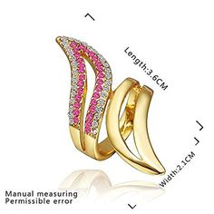 Buy Gold Plated Ring Shining Abnormity Exquisite Colorfull Swarovski Elements Crystal Band Ring Finger Ring Bague Size 8 at Wish - Shopping Made Fun Gold Bracelet For Women, Cubic Zirconia Rings, Silver Accessories, Gold Plated Rings, Pink Ring, Online Fashion Stores, Cocktail Rings, Fashion Rings, Band Rings