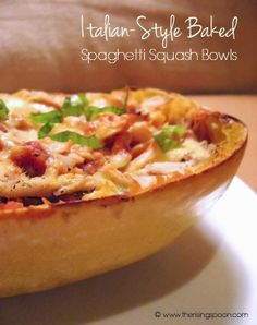 Italian-Style Roasted & Baked Spaghetti Squash Bowls | The Rising Spoon (Take out cheese for Paleo)