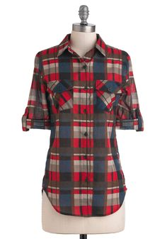 Square Cute of Pie Top - Multi, Red, Blue, Tan / Cream, Black, Plaid, Buttons, Pockets, Casual, Fall, Cotton, Long