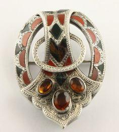 Superb big Victorian c 1890 silver Scottish agate Cairngorm citrine brooch pin