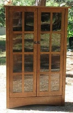 Corner China Cabinet Mission Furniture Hutch Case Quarter Sawn White Oak, Dishes