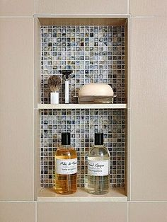 Bathroom Shower Tile Ideas  Nice idea. Make a built in to hide bathroom stuff. by angel