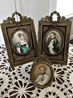 Early 19th century hand painted miniatures of Napoleon I, II, Marie-Julie Clary #Napoleonic #signedbyartist
