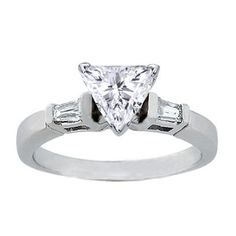 Trillion Diamond Engagement Ring with Tapered Baguette Diamond Accents 0.20 tcw. In 14K White Gold