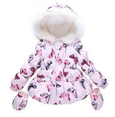 LUKYCILD Baby Girl Butterfly Pattern Outwear Winter Warm ...