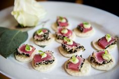 How to Approach Your Wedding Menu Tasting Like a Foodie passed tuna appetizer hors d'oeuvres Wedding Hors D'oeuvres, Wedding Food Menu, Wedding Appetizers, Wedding Catering, Wedding Reception, Gourmet Breakfast, Breakfast For Dinner, The Best Tuna Recipe, Raw Tuna