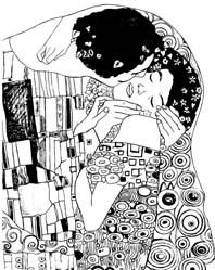 The Kiss by Gustav Klimt - unmounted RUBBER STAMP by Cherry Pie Art Stamps