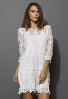 Diamond and Leaves Crochet Mesh Shift Dress - New Arrivals - Retro, Indie and Unique Fashion
