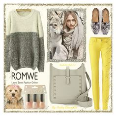 """ROMWE - White Grey Round Neck Shaggy Knit Sweater"" by pinky-chocolatte ❤ liked on Polyvore featuring MANGO, Olivia Riegel, Rebecca Minkoff, ORLY, women's clothing, women, female, woman, misses and juniors"