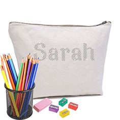 Ivory Varsany Personalised Pencil Case In Diamante's Perfect Teachers Gift or for any student who loves a bit of sparkle