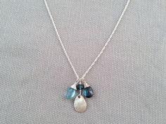 Handmade Necklace with LBTopaz, Aquamarine, Silver teardrop disc by Indiana jewelry artist, Amber Bryce.
