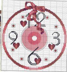 Schema punto croce Orologio Cuori 1b