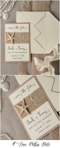 Don't forget to Save the Date ! Eco rustic beach wedding save the date card with real starfish #weddingideas #rustic #beach #destinationwedding #weddingideas #neutrals #burlap #coastal