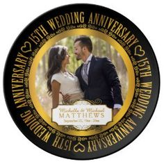 "15th Wedding Anniversary Photo Keepsake Porcelain Plate (<em data-recalc-dims=""1"">$54.95</em>)"
