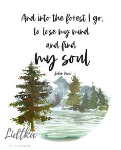 Watercolor Landscape, Watercolor Print, River Quotes, Forest Quotes, John Muir Quotes, Into The Woods Quotes, Tree Quotes, Nature Artwork, Nature Tree
