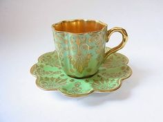 Coalport 1900's tea cup & saucer in mint green & gold
