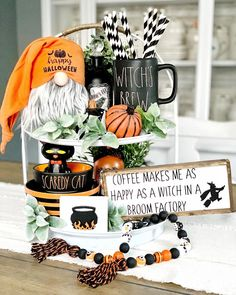 Whether your Rae Dunn Halloween loot for 2019 consists of a single mug you scored at HomeGoods or is enough to fill a large dining table, you'll want to Halloween Home Decor, Halloween House, Cute Halloween, Holidays Halloween, Vintage Halloween, Halloween Crafts, Halloween Decorations, Table Decorations, Rustic Halloween