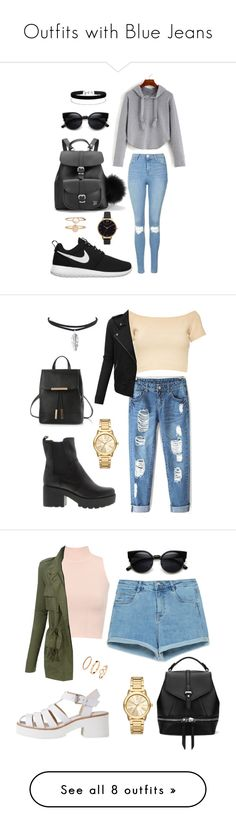 """""""Outfits with Blue Jeans"""" by deedee-3p ❤ liked on Polyvore featuring Topshop, Grafea, NIKE, Miss Selfridge, Olivia Burton, Accessorize, Alice + Olivia, LE3NO, Michael Kors and Zara"""