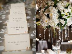 Gorgeous Floral arrangement and place card setup  Photo Credit:  M2 Photography www.m2-photography.net  www.hoteldupont.com