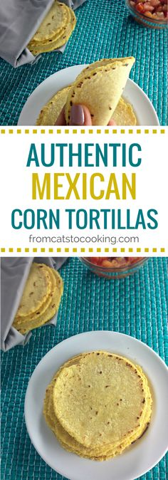 Authentic Mexican Homemade Corn Tortillas are the best. They're better than the store bought version, are pretty healthy and are a great gluten-free option. Corn Tortilla Quesadilla, Baked Corn Tortilla Chips, Tortilla Press, Corn Chips, Corn Tortilla Recipes, Tostada Recipes, Tortilla Flats, Authentic Taco Recipe, Authentic Mexican Recipes