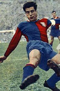 Julio Abbadie of Genoa & Uruguay in Genoa Cfc, Soccer, Football, Grande, 1960s, Style, Red, Fashion, Uruguay