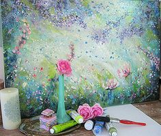 and absolutely FREEZING, but at least those frosty mornings have given way to sunshiny afternoons. 3d Street Art, Illustration Art, Illustrations, Flower Art, Mixed Media, Shabby, Romantic, Spring, Artwork