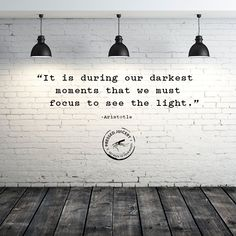 """It is during our darkest moments that we must focus to see the light"""