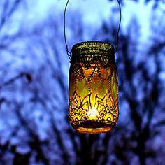 handpainted mason jar lantern