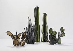 Bespoke Stained Glass Succulents by Lesley Green #StainedGlassTerrarium