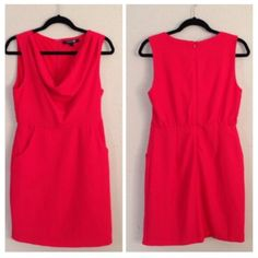 Forever 21 Red Dress Pre-loved dress, worn a handful of times, overall great condition. The bottom of the dress has come undone, quick stitch will fix the hemline. Draped neck, side pockets, back zipper ❌no trades, paypal❌ Forever 21 Dresses