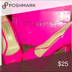 Show Dazzle size 7 1/2 heels Excellent condition never worn, only tried on. Still in box, very pretty, platform front, 6 inc heel! Shoe Dazzle Shoes Heels