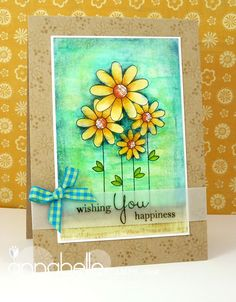 handmade card ... like the bright and cheerful colors of the main panel ... sentiment stamped on vellum and attached on top of the main image ... neutral kraft card base ... delightful!!