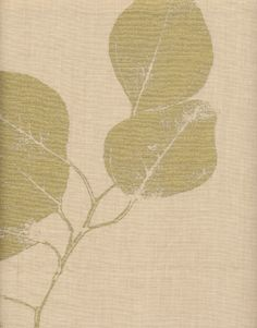 Leaf natural Gold Linen Fabric