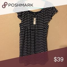 NWT Lane Bryant Striped Off the Shoulder Blouse Fun, light-weight navy blouse with white stripes. Can be worn on or off the shoulders. Machine washable. Lane Bryant Tops Blouses