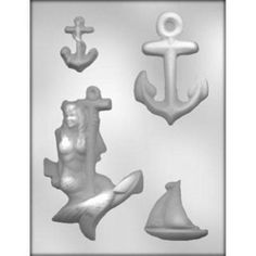 """Mermaid/Anchor 5-7/8"""" x 4 x 1/2"""" Large anchor 4-3/8"""" x 3"""" x 3/8 Small anchor 2-1/4"""" x 2"""" x 1/4"""" Boat 2-3/8"""" x x2-1/2"""" x 3.8""""""""   4 cavities per mold. This mold makes approximately 8 pieces per pound of chocolate. This mold is not used for candy centers. Suitable for chocolate, soap making, plaster and concrete craftingNautical Sea Assortment - Anchors, Mermaid, Sailing Ship Candy Mold #12880"""