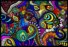 Loopy Zentangle Art Print by Wealie | Society6  Print of an original fineliner zentangle doodle art design coloured with felt tips.